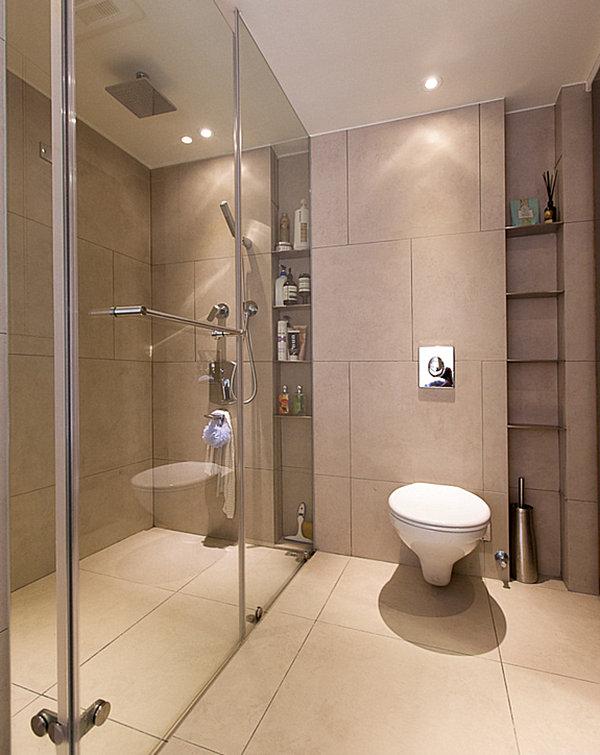 Интерьер ванной комнаты в пастельных тонах