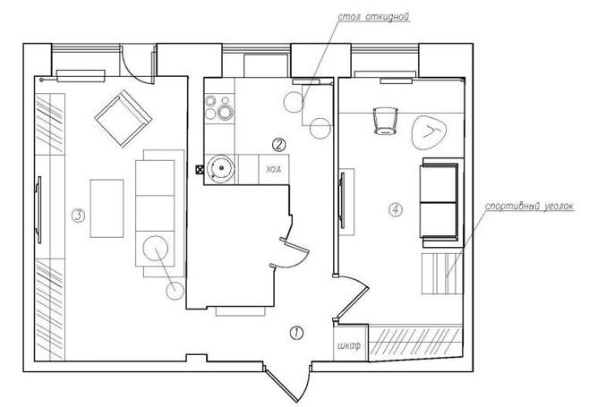 Планировка двухкомнатной квартиры в России