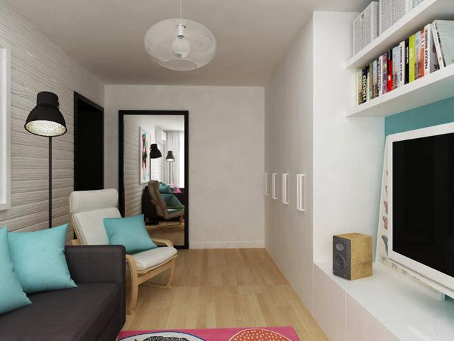 Гостиная двухкомнатной квартиры в России