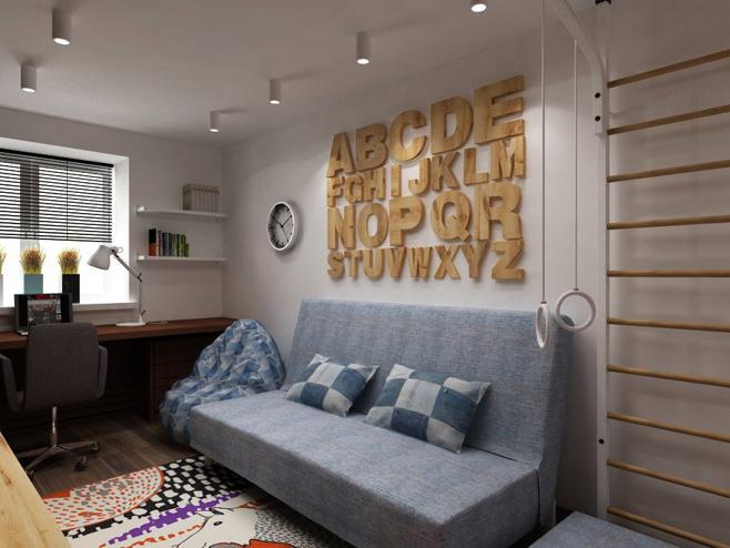 Рабочее место в гостиной двухкомнатной квартиры в России