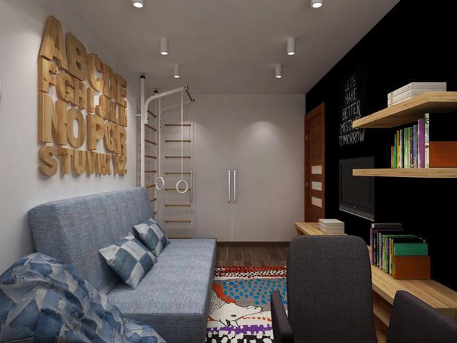 Шведская стенка в гостиной двухкомнатной квартиры в России