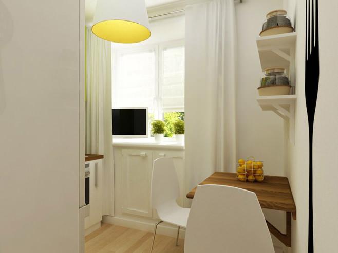 Обеденная зона на кухне двухкомнатной квартиры в России