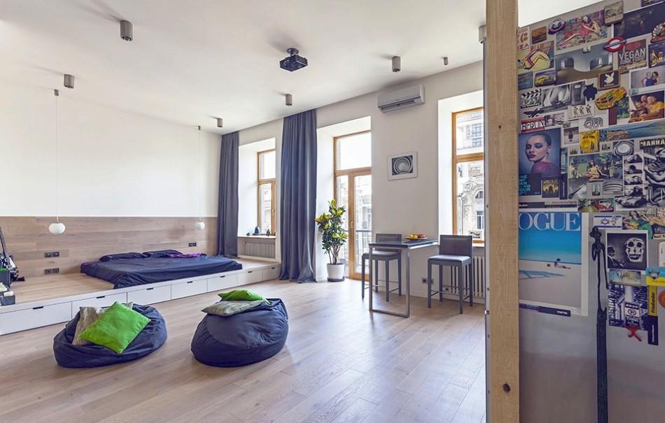 Необычный интерьер однокомнатной квартиры, оформленный в синем цвете