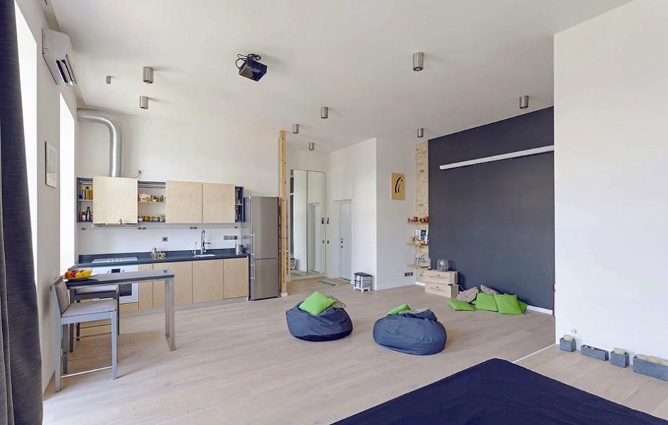Стильная кухня в однокомнатной квартире