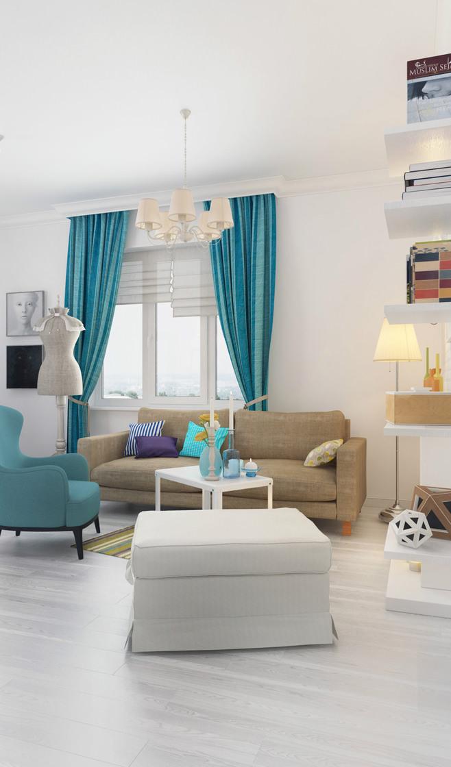 Интерьер светлой квартиры для девушки