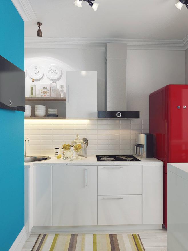 Кухня светлой квартиры для девушки