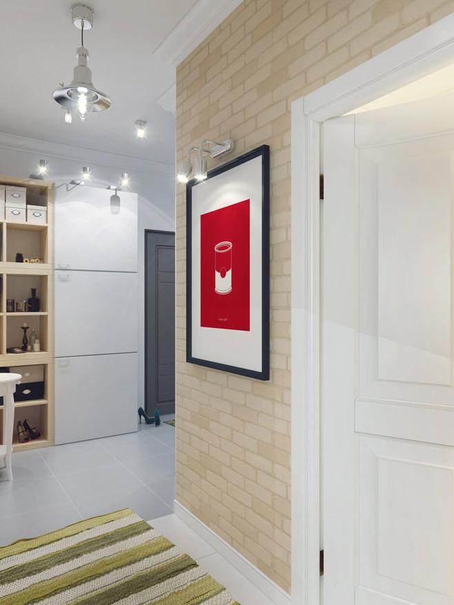 Прихожая светлой квартиры для девушки