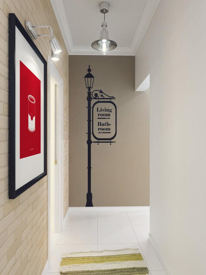 Коридор светлой квартиры для девушки