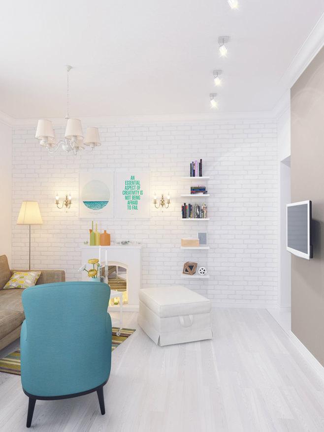 Гостиная светлой квартиры для девушки