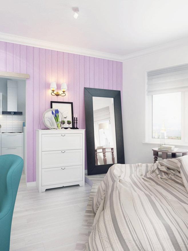 Спальня светлой квартиры для девушки