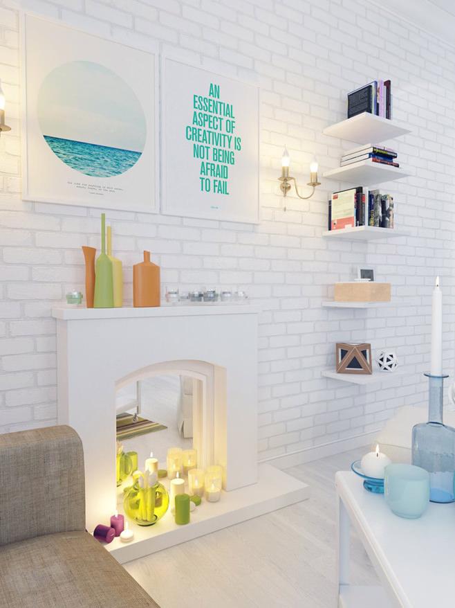 Гостиная с декоративным камином в светлой квартире для девушки