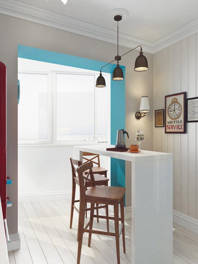 Барная стойка на кухне светлой квартиры для девушки