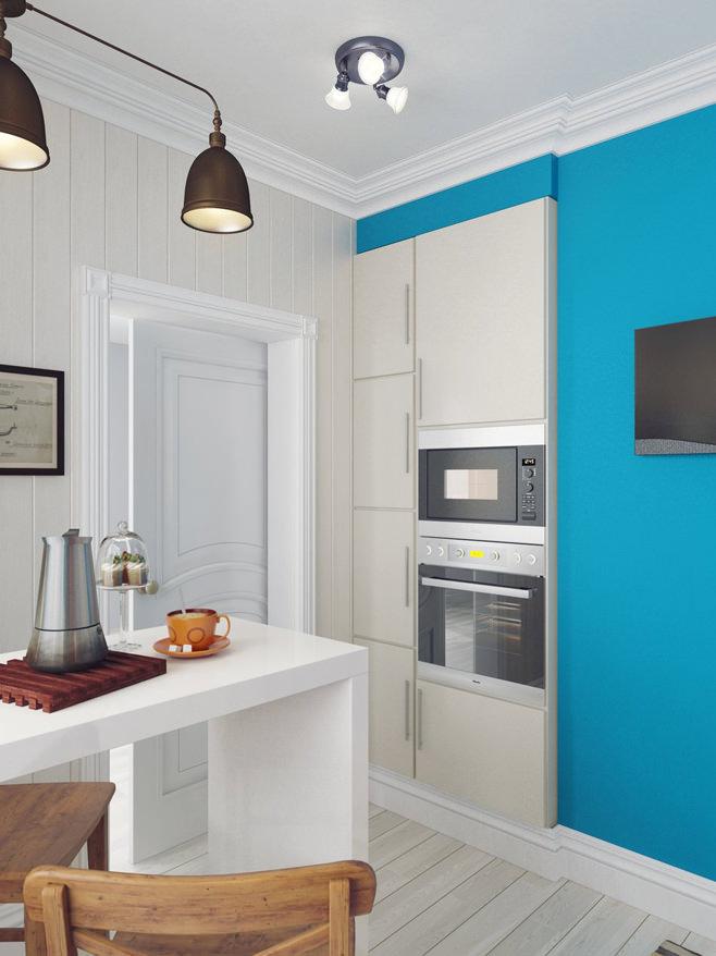 Встроенная техника на кухне светлой квартиры для девушки