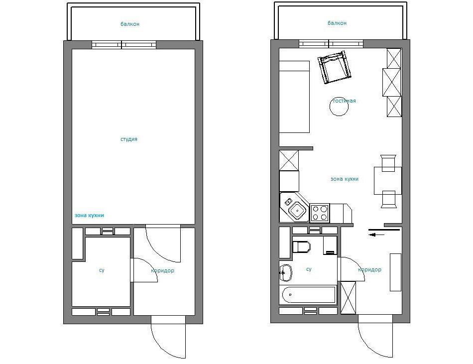 Дизайн квартиры студия 28 м