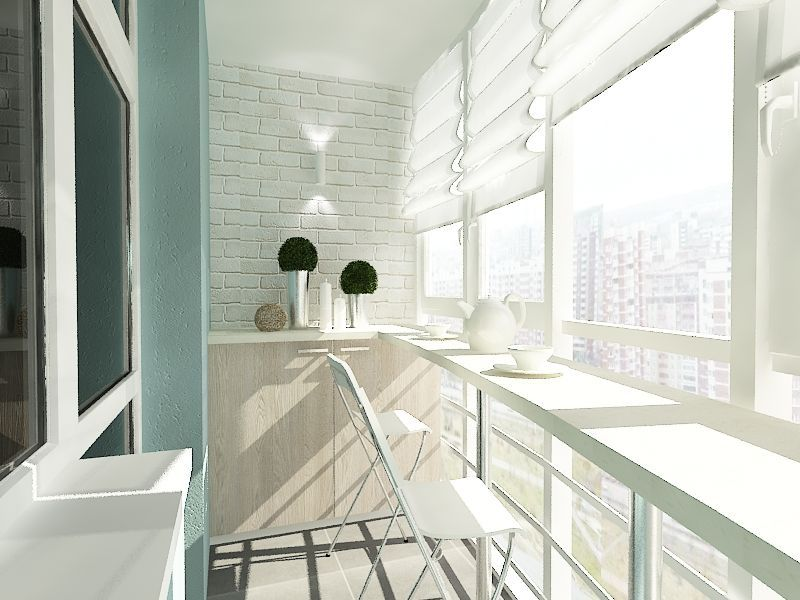 Место для завтрака на балконе