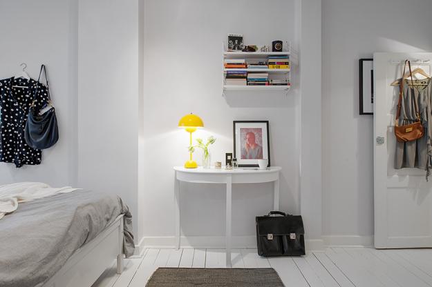 Интерьер спальни небольшой квартиры в скандинавском стиле