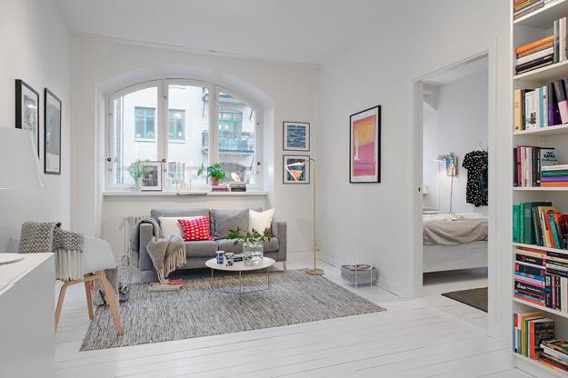 Интерьер гостиной небольшой квартиры в скандинавском стиле