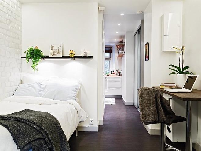 Спальня квартиры-студии в Швейцарии