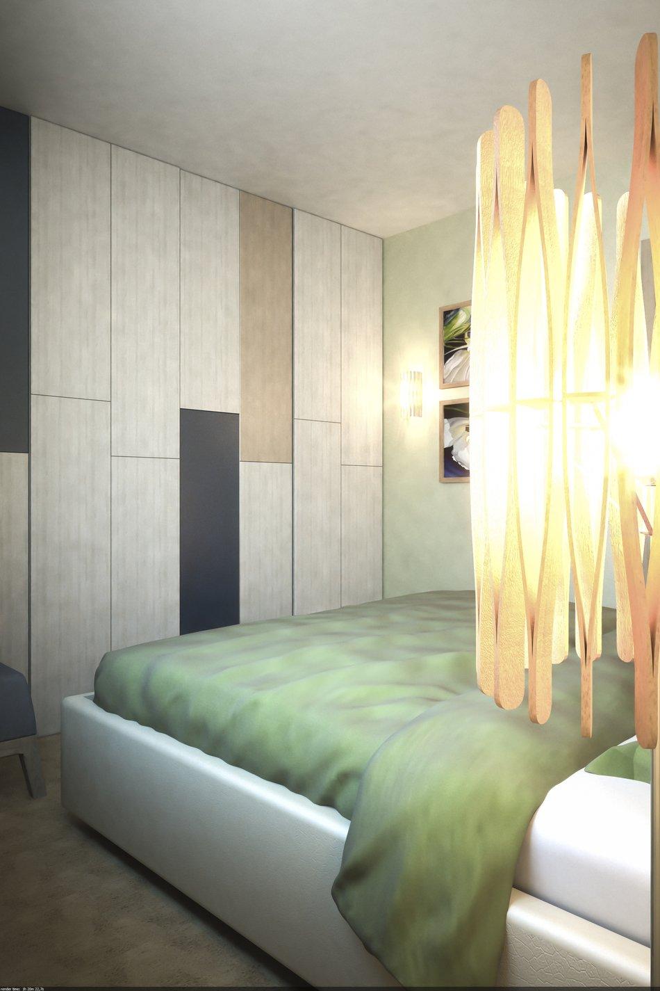 Двуспальная кровать в маленькой спальне