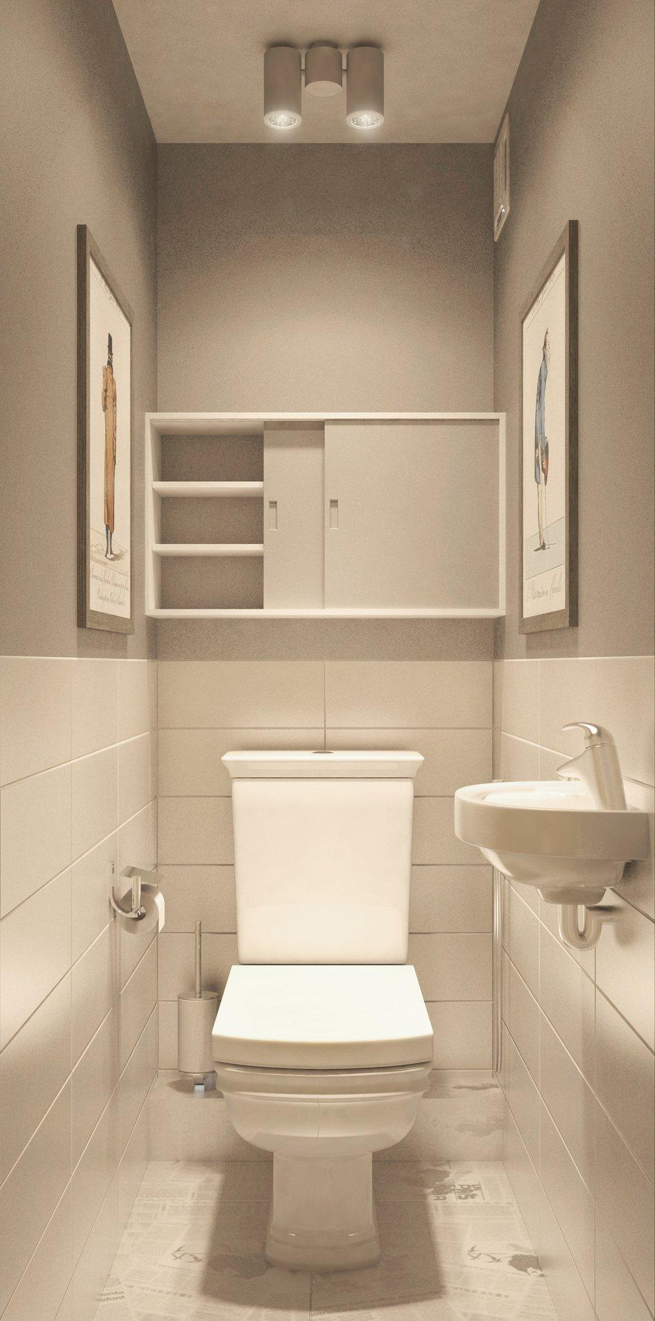Навесной шкаф и раковина в туалете