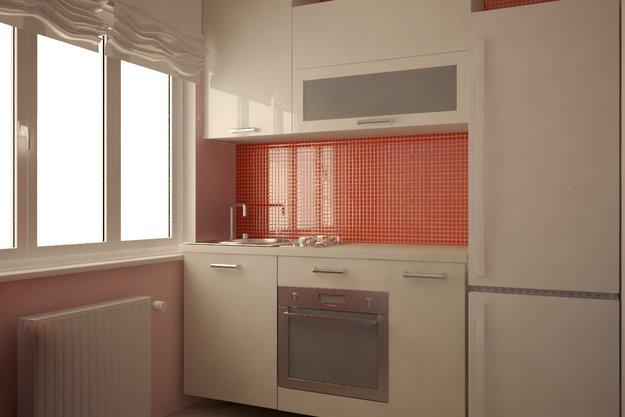 Кухня в белом цвете с оранжевыми акцентами
