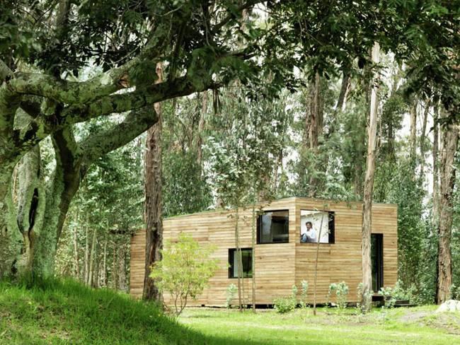 Эквадорский маленький домик в лесу. Первобытный лес вокруг дома