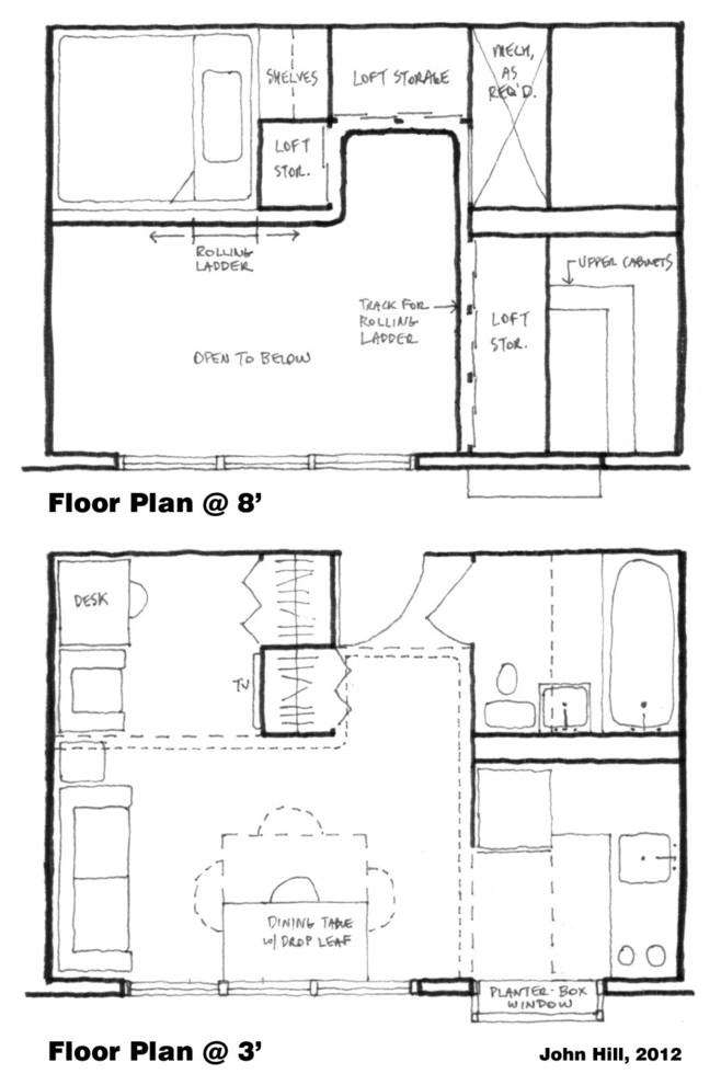 Планировка двухъярусной квартиры-студии
