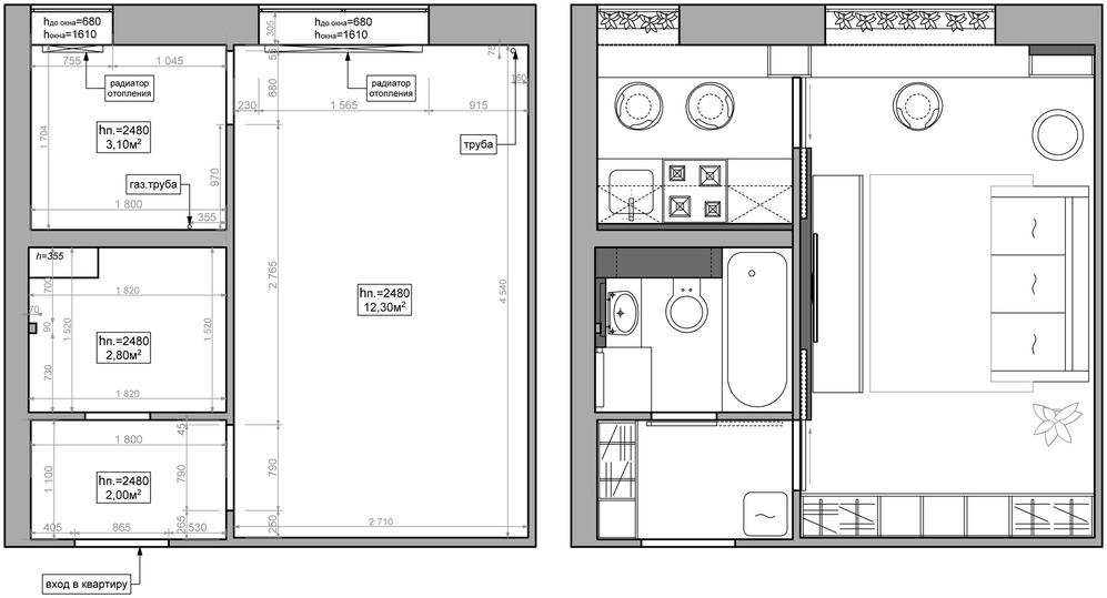 Планировка и меблировка квартиры-студии