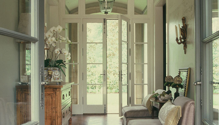 Стеклянные французские входные двери