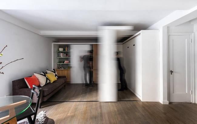 Выдвижные детали в интерьере квартиры