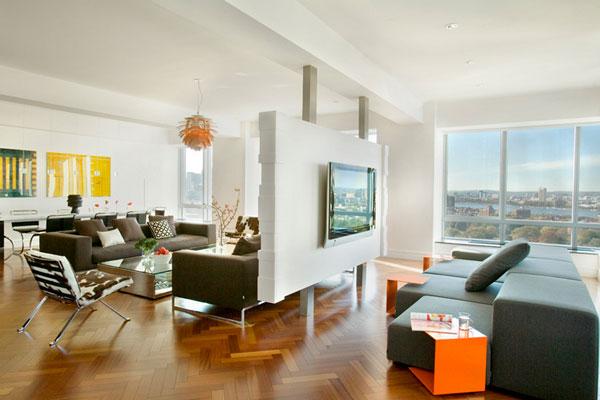 Перегородка в интерьере современной гостиной