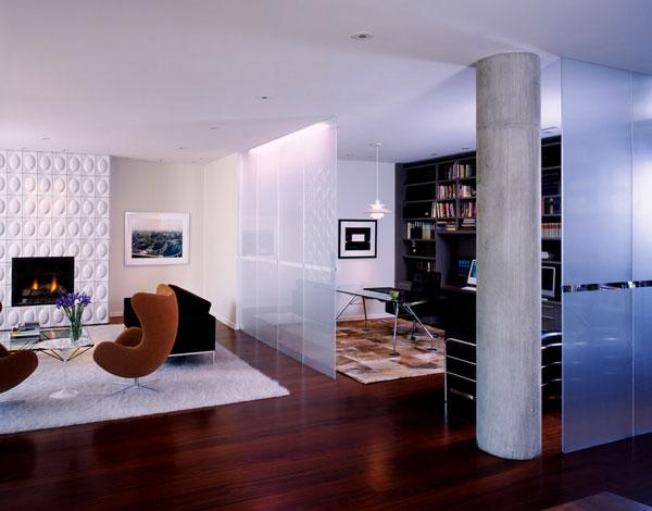 Полупрозрачные перегородки в интерьере роскошной квартиры