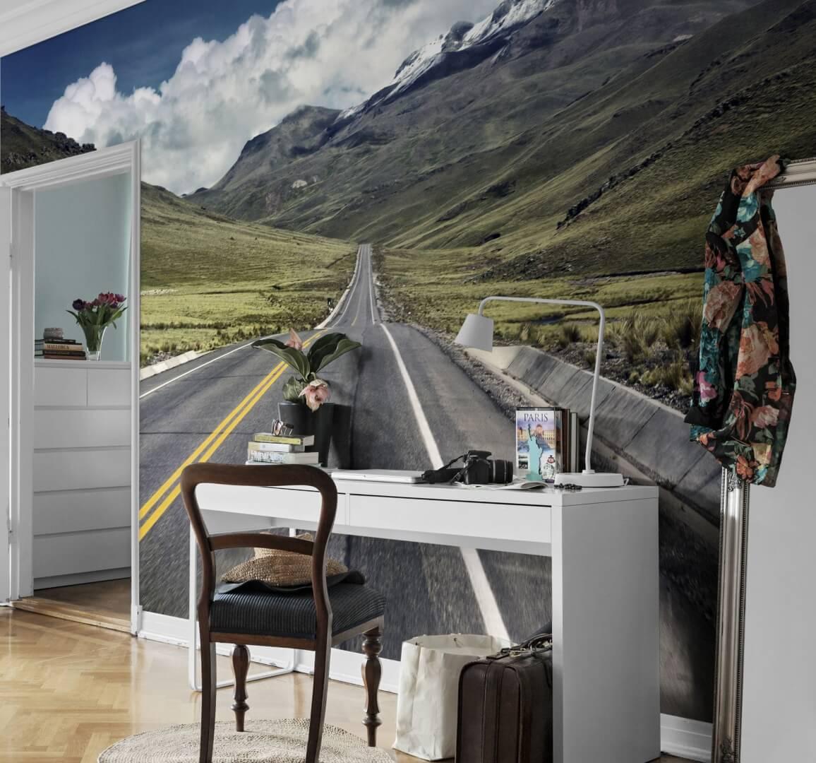 Фотообои горы и дорога в кабинете
