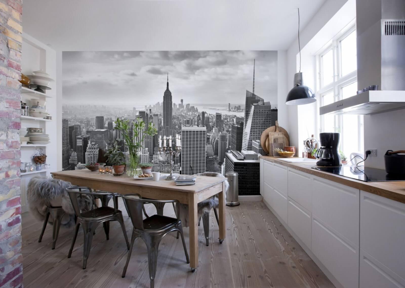 Черно белые фотообои на кухне