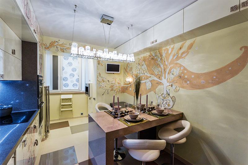 10-метровая кухня с продуманным стильным дизайном.
