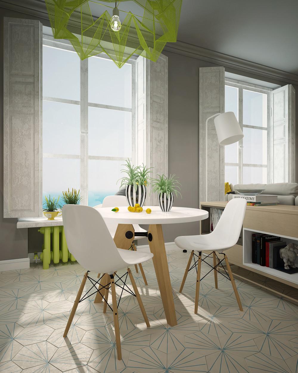 Дизайн столовой с яркими акцентами