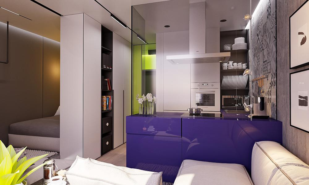 Дизайн в студии 28 кв.м
