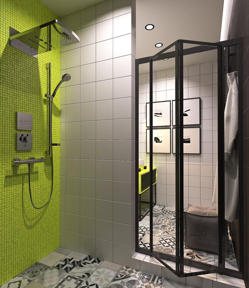 Красивая ванная с яркими акцентами