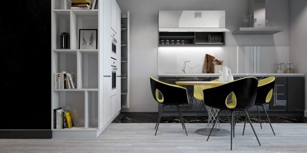 Жёлтые акценты в интерьере серой кухни