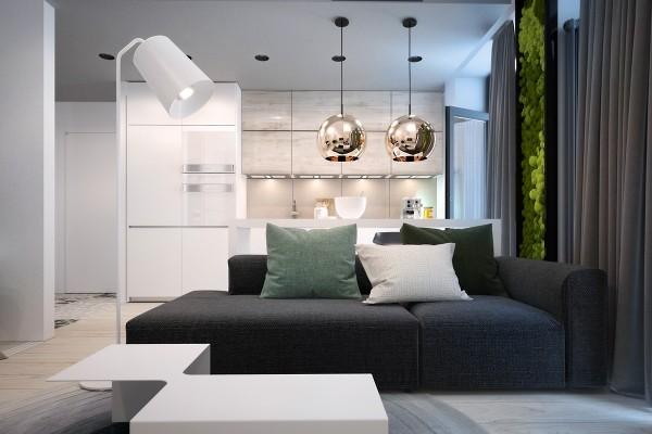 Растения на стене в квартире-студии