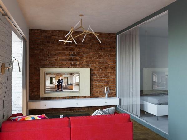 Гостиная и спальня за стеклянной перегородкой