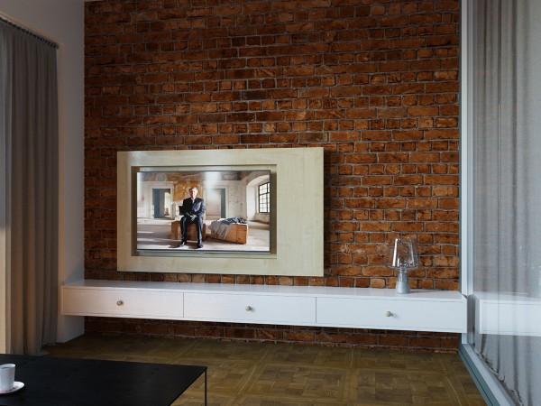 Телевизор на кирпичной стене