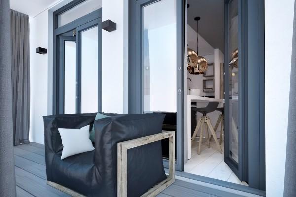 Спальня и кабинет в нише с раздвижными дверьми