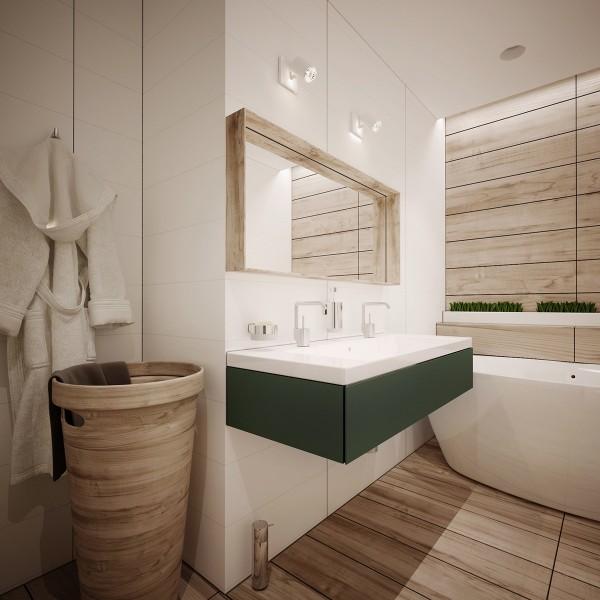 Деревянная отделка в оформлении ванной