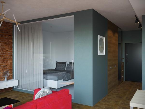Спальня за стеклянной стеной