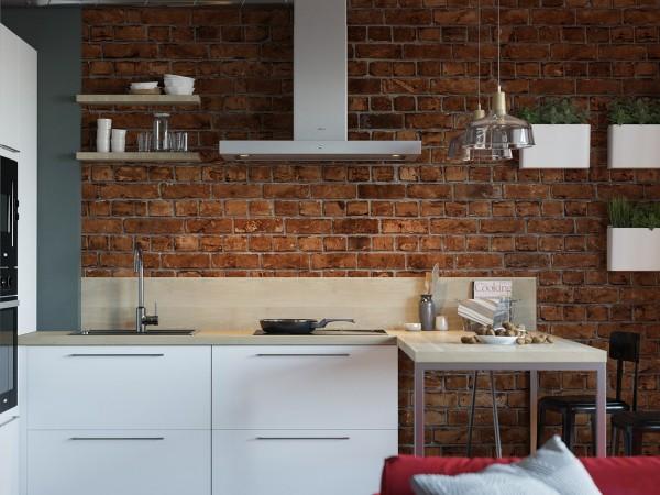 Кирпичные стены на кухне