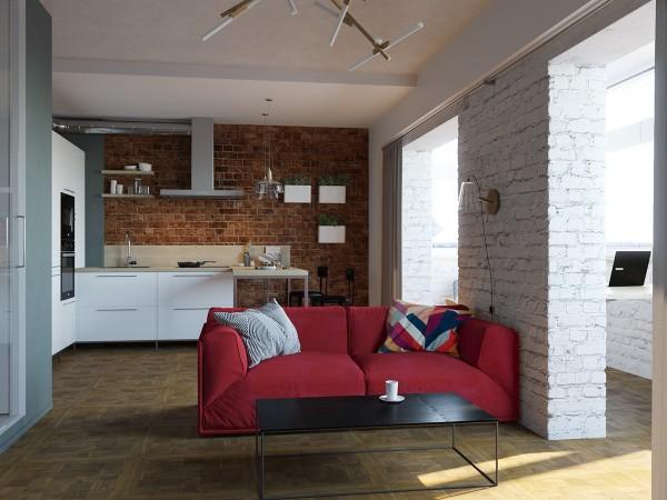 Кирпичная кладка в интерьере небольшой квартиры