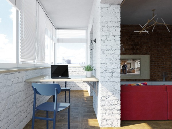 Домашний кабинет на балконе