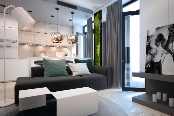 Зелёные акценты в интерьере серой квартиры