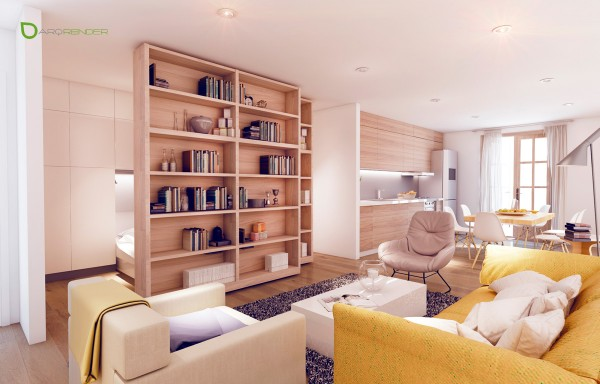 Жёлтые акценты в интерьере светлой квартиры